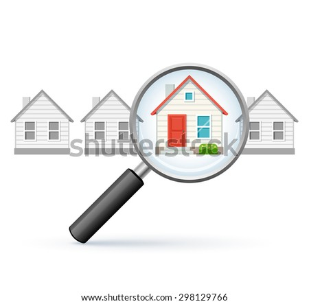 Magnifying glass and a home. Concept of searching and comparing properties. - stock vector