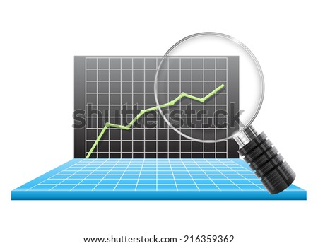 Magnifying glass and chart - stock vector
