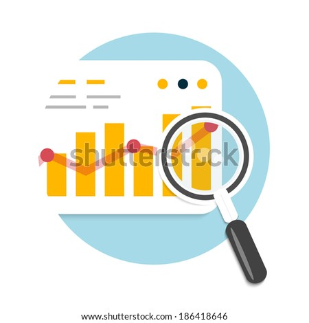 Magnifying glass and chart. Business concept of analyzing - stock vector