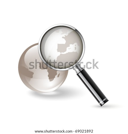 Magnifying glass and globe. Internet search icon