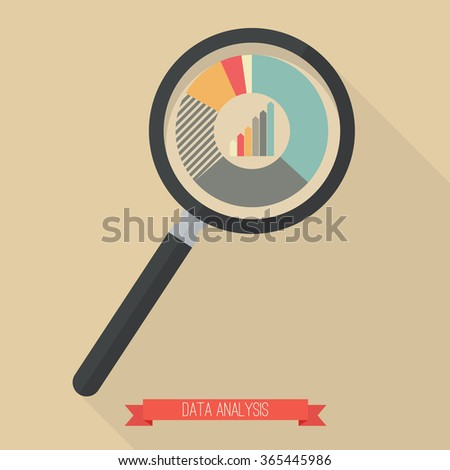 Magnifying glass and pie chart. Flat style design with long shadow - stock vector