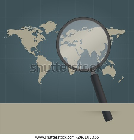 magnifying glass and world map - stock vector