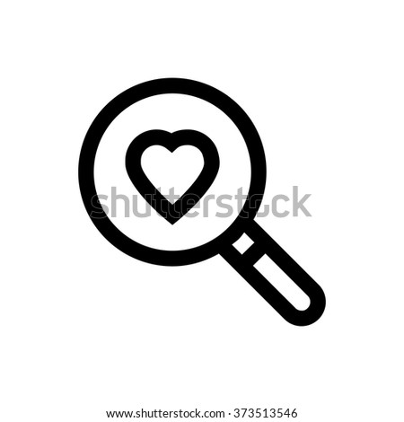 Magnifying glass, heart, valentine's day, love line icon. Pixel perfect fully editable vector icon suitable for websites, info graphics and print media. - stock vector