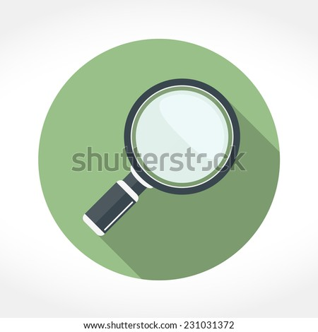 Magnifying glass icon in circle, flat design with long shadow, vector eps10 illustration - stock vector