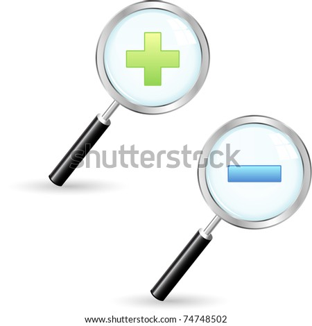 Magnifying glass icon. Vector zoom icons for design. - stock vector