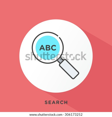 Magnifying glass icon with dark grey outline and offset flat colors. Modern style minimalistic vector illustration for investigative journalism, digital and social media research. - stock vector