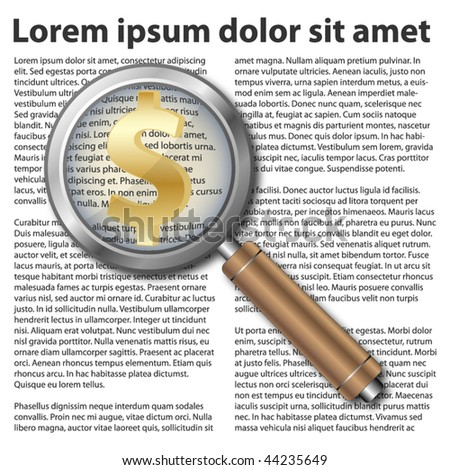 Magnifying glass icon with dollar symbol on text background