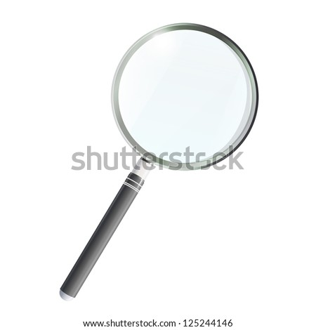 Magnifying glass isolated on white background. Vector design. - stock vector