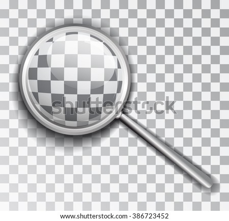 Magnifying Glass. Lens is a transparent background. Isolated vector object.  - stock vector