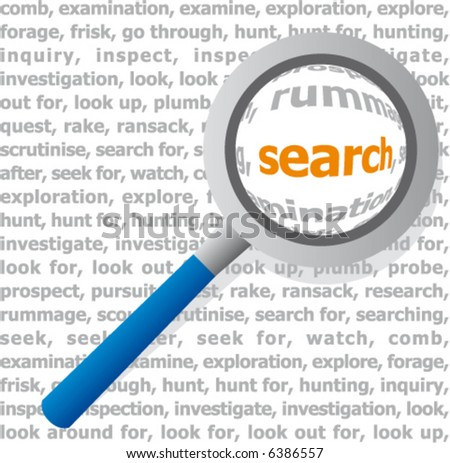 Magnifying glass looking at a dictionary page. Search. - stock vector