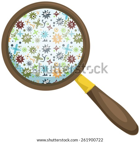 Magnifying glass, looking to some germs, vector illustration - stock vector