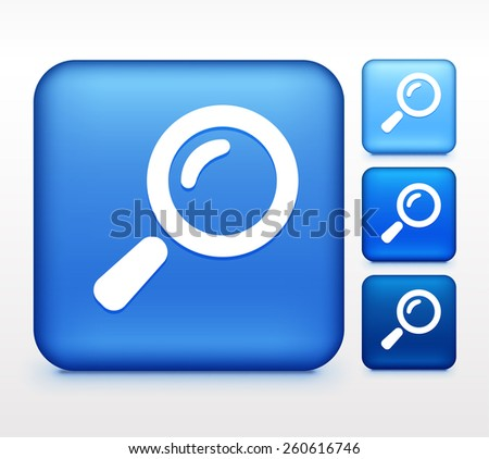Magnifying Glass on Blue Square Button