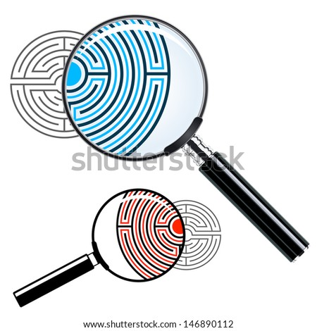 Magnifying glass over a labyrinth enlarging the intricate maze of passages conceptual of solving a problem or riddle by analysis, illustration - stock vector
