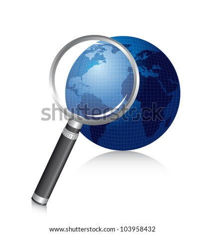 magnifying glass over planet with shadow. vector illustration
