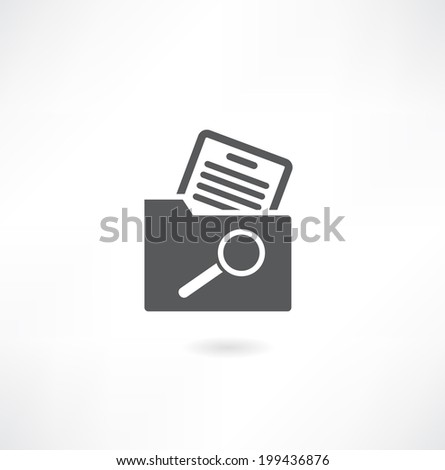 Magnifying glass over the folders. - stock vector