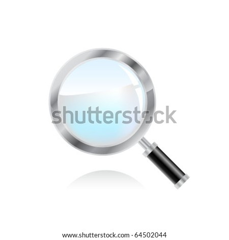 Magnifying glass over white background