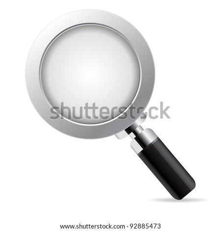 Magnifying glass over white background - stock vector