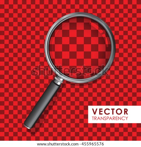magnifying glass red - stock vector