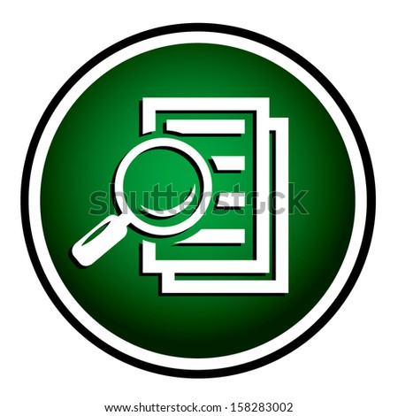 Magnifying glass round green icon - search the document.  - stock vector