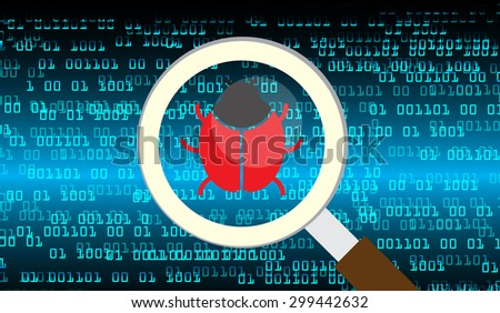 Magnifying Glass scanning and identifying a computer virus. Antivirus protection and computer security concept. PC. vector one zero. scan. technology digital website internet web