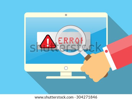 Magnifying Glass scanning and identifying a computer virus. Antivirus protection and computer security concept. vector green screen PC. error - stock vector