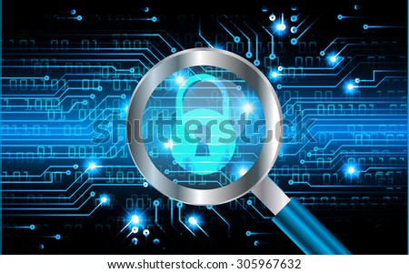 Magnifying Glass scanning and identifying a computer virus. Antivirus protection and computer security concept. PC.vector one zero. scan.technology website internet web. blue screen. lock,key.Padlock - stock vector