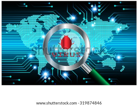 Magnifying Glass scanning and identifying a computer virus. Antivirus protection and computer security concept. - stock vector