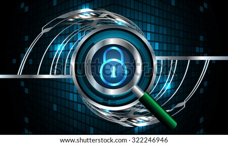 Magnifying Glass scanning and identifying a computer virus. Antivirus protection and computer security concept. PC. one zero. scan. technology digital website internet web. vector. lock, key, Padlock - stock vector