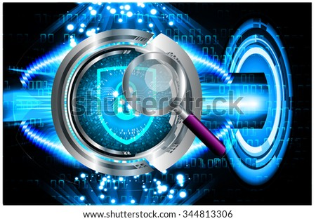 Magnifying Glass scanning and identifying a computer virus. Antivirus protection and computer security concept. PC. vector one zero. scan. technology digital website internet web. key - stock vector