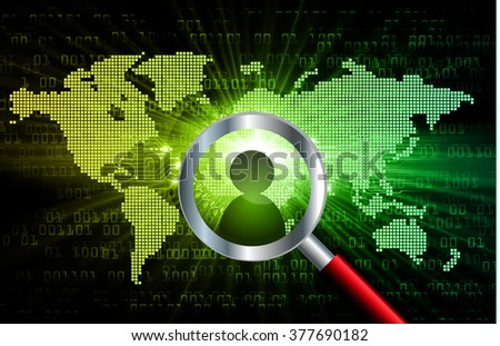 Magnifying Glass scanning and identifying a computer virus. Antivirus protection and computer security concept. PC. vector one zero. technology digital website internet web .World map. people scan - stock vector