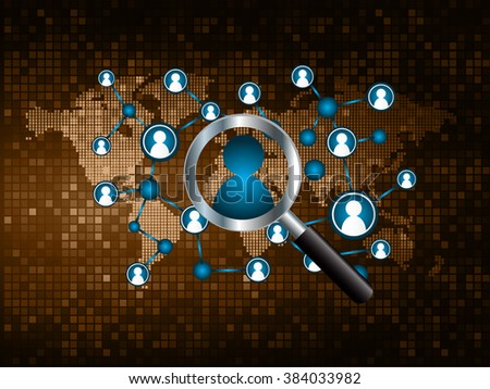 Magnifying Glass scanning and identifying a computer virus. Antivirus protection and computer security concept. PC. vector one zero.technology digital website internet web .World map.people scan.brown - stock vector