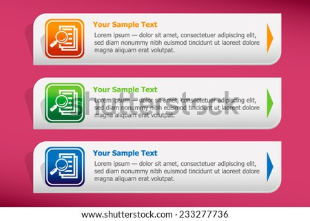 Magnifying glass - Search the document and design template vector. Graphic or website. - stock vector