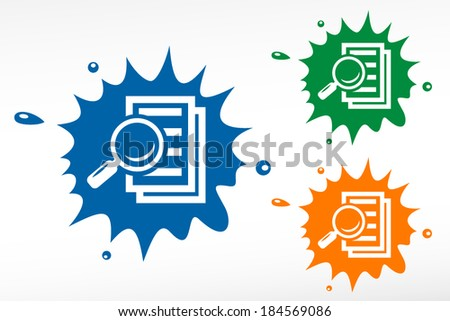 Magnifying glass - search the document. Color blob - stock vector