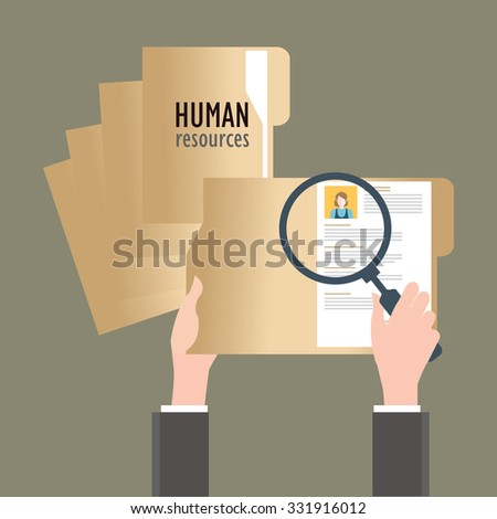 Magnifying glass searching business people, Human resources, conceptual vector illustration. - stock vector