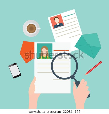 Magnifying glass searching business people, Human resources, vector illustration. - stock vector