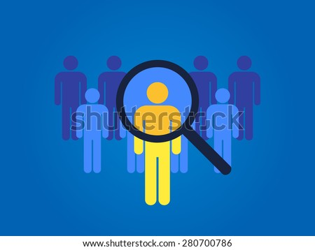 Magnifying glass searching people, recruitment icon. - stock vector