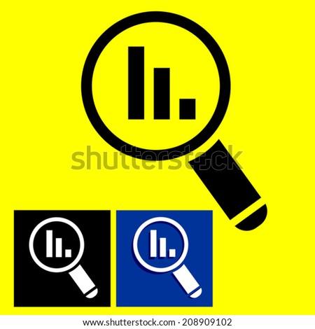 Magnifying glass showing decreasing bar graph, vector illustration - stock vector