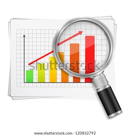 Magnifying glass showing rising bar graph, vector eps10 illustration - stock vector