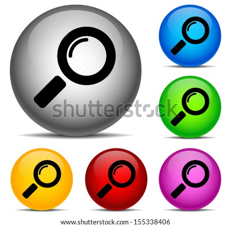 Magnifying Glass Sphere Icons Stock Vector - stock vector