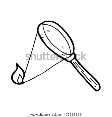 magnifying glass starting fire cartoon - stock vector
