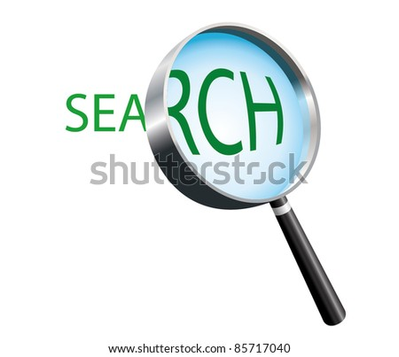 Magnifying Glass. Text label search - stock vector