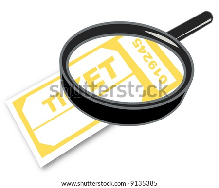 magnifying glass with admission or prize tickets - vector - stock vector