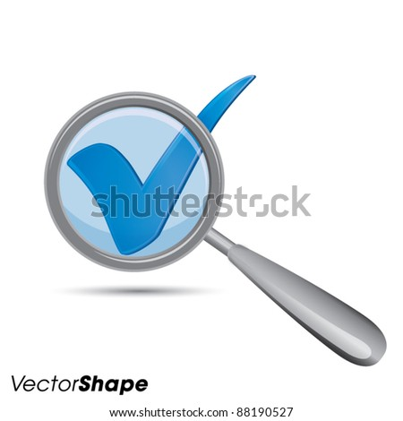 Magnifying glass with check mark, approved idea business concept, vector illustration - stock vector
