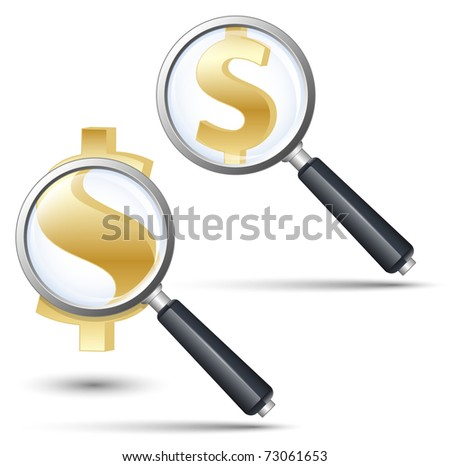 Magnifying glass with dollar sign. Vector illustration