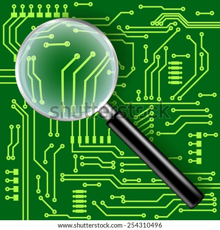 Magnifying glass with electronic circuit board background - vector drawing. - stock vector