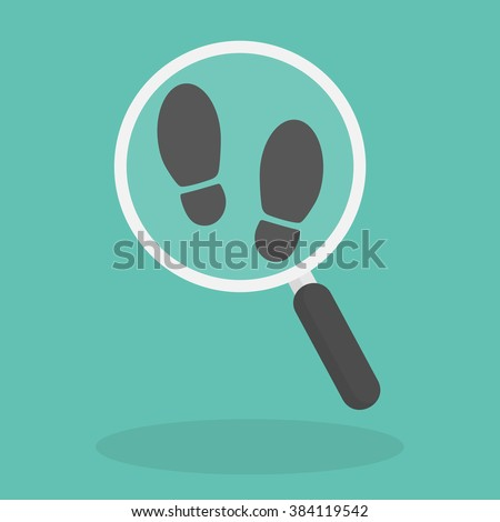 Magnifying glass with footsteps icon. Flat style - stock vector