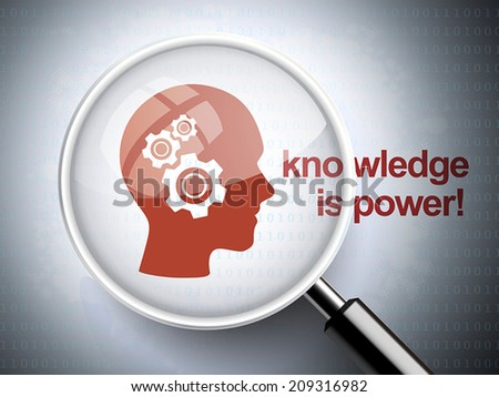 magnifying glass with gears on head  icon and knowledge is power word on digital background - stock vector