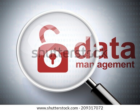 magnifying glass with opened padlock icon and data management words on digital background - stock vector