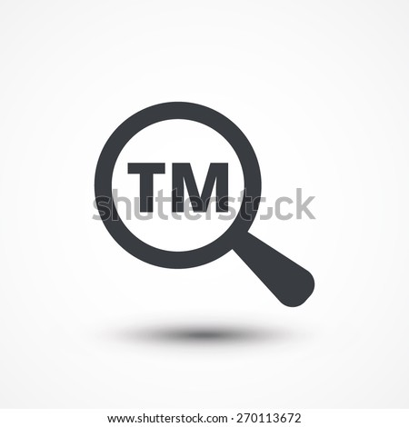 Magnifying Glass Trademark Icon Licensing Word Stock Vector 2018