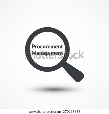 Magnifying glass with words procurement management on white background - stock vector